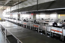 山东济南蓝翔高级技工学校的一间教学厨房
